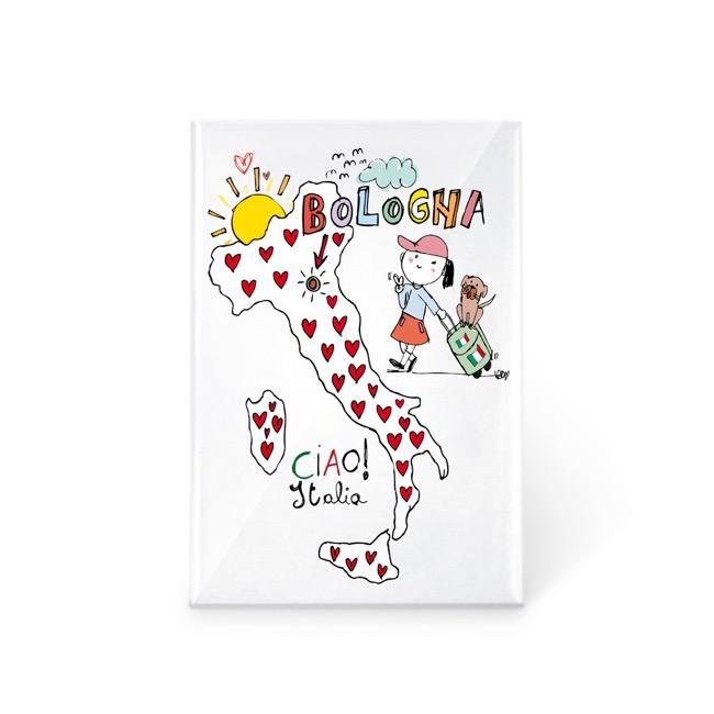 Bologna Cartina Italia.Magnete Cartina Italia Ciao Bologna Souvenirstore It Ricordi D Autore