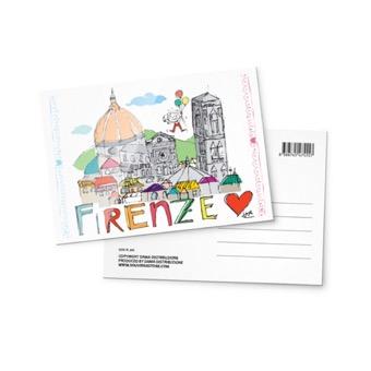 Cartolina illustrata Panorama Firenze
