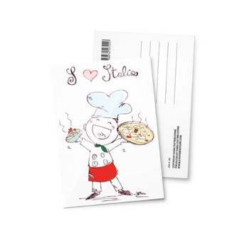 Cartolina illustrata Love Pizza Italia