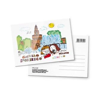 Cartolina illustrata Castello Sforzesco, Milano