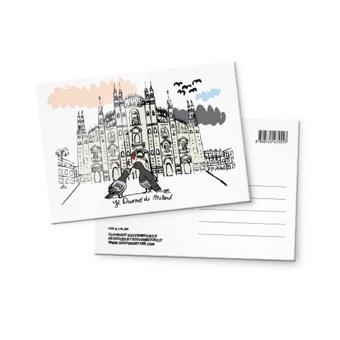 Cartolina illustrata Duomo di Milano