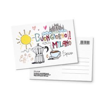 Cartolina illustrata Buongiorno Milano