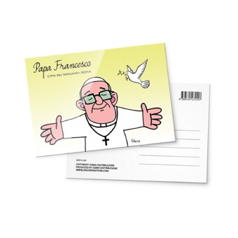 Cartolina illustrata Papa Francesco