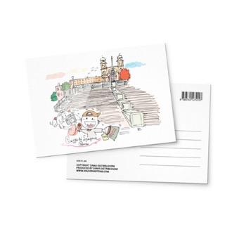 Cartolina illustrata Piazza di Spagna