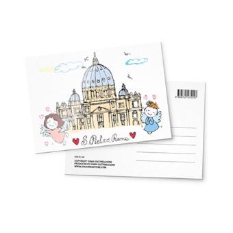 Cartolina illustrata Basilica di San Pietro