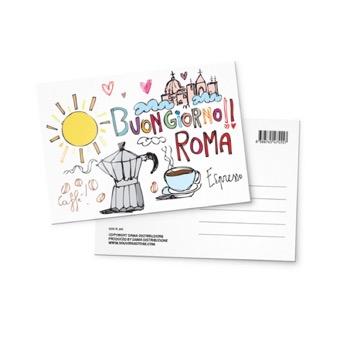 Cartolina illustrata Buongiorno Roma