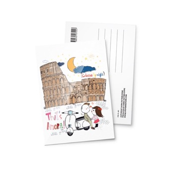 Cartolina illustrata Colosseo Tath's amore