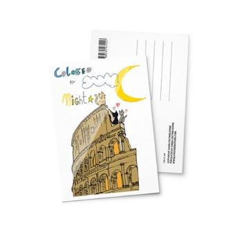 Cartolina illustrata Colosseo di notte