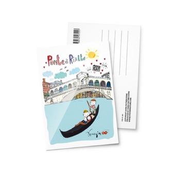 Cartolina illustrata Ponte di Rialto, Venezia